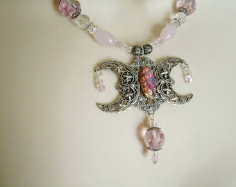 Pink Opal Triple Moon Goddess Necklace, wiccan jewelry pagan jewelry wicca jewelry witch witchcraft gothic pagan necklace wiccan necklace