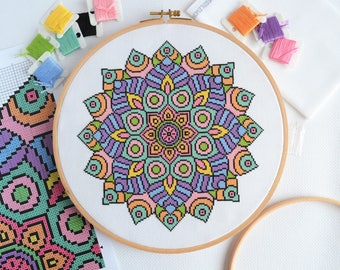 PATTERN Statement Mandala Cross Stitch Chart - Bright Modern Cross Stitch - Multicoloured Buddhist Symbol