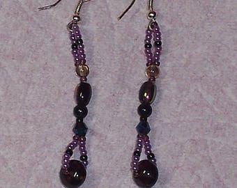 Native American Beaded Purple Dangle Earrings