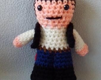Made to order, Hand crocheted Star Wars Han Solo Amigurumi Doll