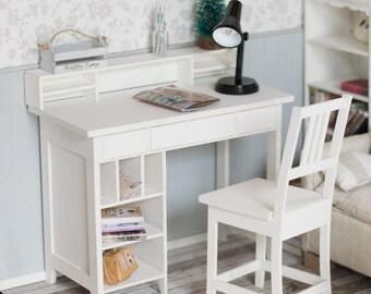 Doll desk, 1/4, MSD, minifee, BJD, miniature romatic shabby desk with chair, Roombox, diorama dollhouse