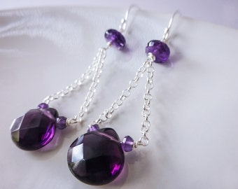 Purple Amethyst Earrings, Amethyst Dangle Earrings, February Birthstone Silver Earrings Gemstone Earrings Drop Earrings Everyday Earrings