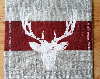 Set of 4 Stag Head Paper Lunch Napkins Square Decoupage Burgundy Grey Collage Scrapbooking #022