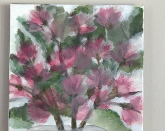 Azaleas painting - 12 x 12 acrylic on canvas