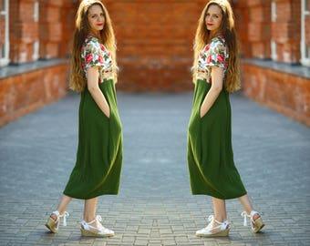 Linen Maxi Dress, Long Linen Dress, Colorful Linen Dress, Dress With Flowers, Dress With Pockets, Washed and Soft Linen Dress