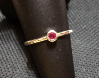 Ring lab Ruby in eco friendly recycled sterling silver - Ready To Mail in size 6.5 --  3mm tube set  engagement Mother Solitaire RED