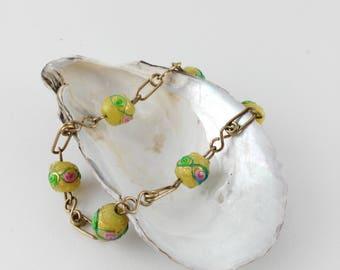 Art Deco Bracelet, Color Pop Bracelet, Glass Bead Bracelet, Mother's Day Gift, Yellow Bead Bracelet, Wedding Bracelet, Gift for Women