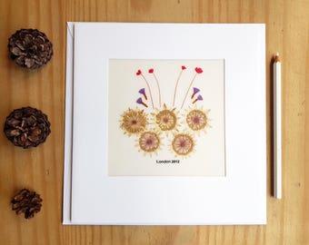 LONDON Olympics 2012 CARD, handmade, pressed natural flowers, Olympic Rings, Olympics Games, London Olympics, greeting card, London Eye