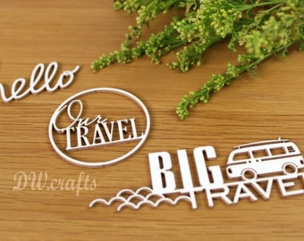 """Set of Chipboards """"Travel journal"""" for mixmedia scrapbooking"""