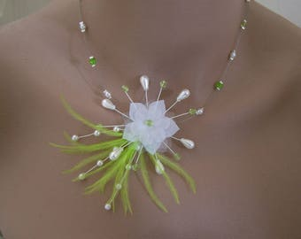 Necklace Original white lime/Apple/pistachio green pr dress of bride/wedding/party/ceremony/cocktail feather flower beads (cheap)
