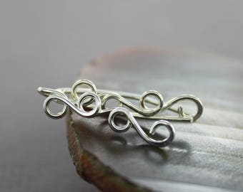 Swirly sterling silver ear climbers earrings, sterling ear crawler, ear jacket climbers, ear sweeps, wire ear cuffs, EC005