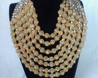 Custom made 7 row gold beaded necklace