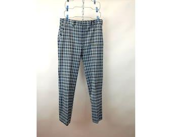 1970s pants plaid polyester houndstooth blue gray flare leg Hubbard Slacks Size 34 waist 30.5 waist