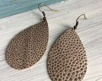 Genuine Leather  2 tone Brown Textured Earrings