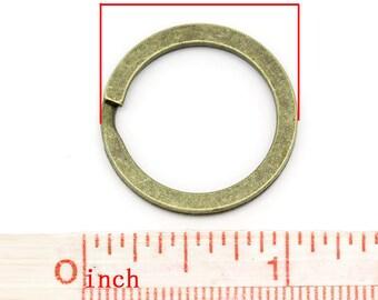 10 pcs. Antique Bronze Split Rings Key Rings - 25mm (1 inch)