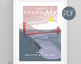 GOLDEN GATE Bridge, San Francisco, USA Vintage Travel Poster, diy printable pdf/jpeg download