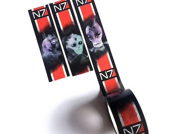 Mass Effect N7 20mm washi tape featuring Legion Mordin Solus and Thane Krios