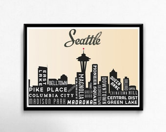 Seattle Skyline, City Art Poster, Skyline Art, Typography Poster Print. Seattle Art Print, Gifts for him, Gifts for her