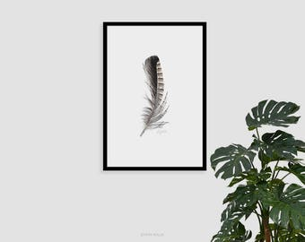 Feather print, Scandinavian art, living room art, Fine art prints, Prints illustrations, Printable artwork, Modern Wall art, Digital prints,