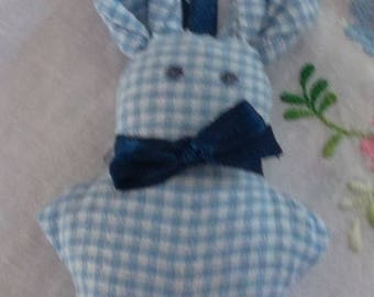 Rabbit in lavender blue gingham