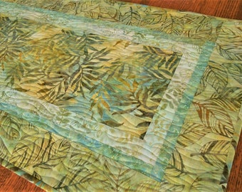 Quilted Batik Table Runner with Leaves in Shades of Green Yellow and Aqua Blue, Dining Table Runner, Coffee Table Runner, Dresser Runner