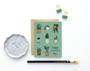 Father's Day, Dad Plant Card - Happy Father's Day - with Illustrated Potted Plants | Dad Card, Plants, Gardener, Daddy's Girl
