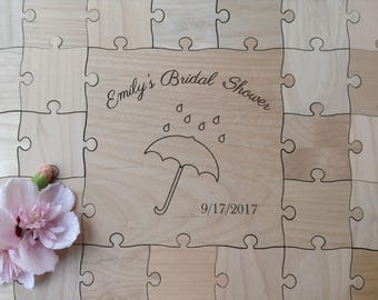 60 pieces CUSTOM Wedding Anniversary Birthday Guest Book Puzzle