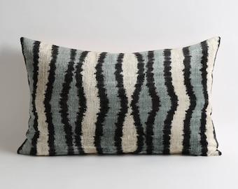 Luxury velvet pillow covers // black gray and white home decor handwoven lumbar silk velvet ikat decorative throw pillows