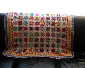 Hand Crocheted Mini Granny Squares Blanket