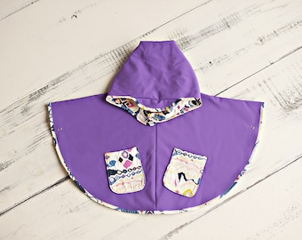 Children's Poncho, Girls,Medium,kids outerwear,Sarah Watson, Luxe in Bloom, Boucherouite Blush, Purple, Waterproof, Kids Clothing, Kids cape