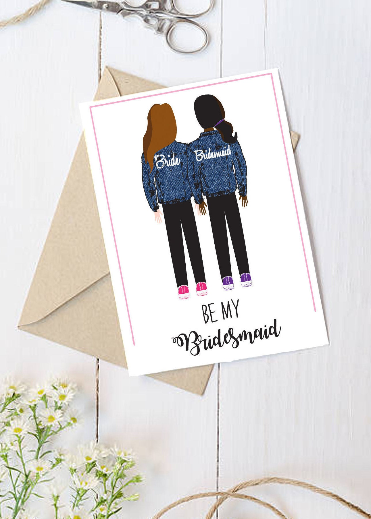 Bridesmaid Ask Cards - Illustrated - Personalized - Custom - Trendy ...
