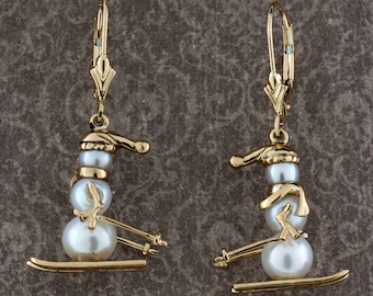 Gold and Pearl Small Skiing Snow Man Earrings