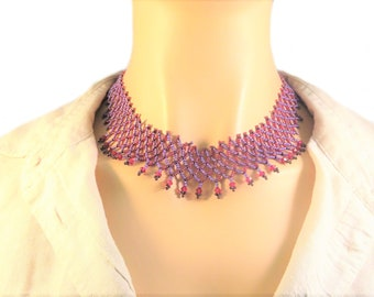 Statement Necklace, Unique Gift, Red Her Jewelry, Bib Necklaces, Red Woman Jewelry, Gifts for Mom, Crystals Necklace, beads jewelry for Wife