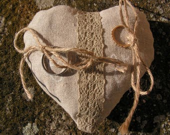 Heart pillow, linen and lace ring pillow