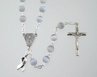 Gray Awareness Rosary with Cat Eye Beads