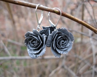 Birthday gift for wife Unique gift for women Gift for girlfriend gift Gray earrings Silver flower earring Rose dangle earring Gray jewelry