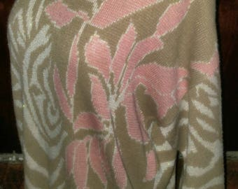 Vintage 80's acrylic abstract op-art pastel pink, white (with sparkle) and beige pullover sweater - size M