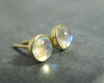 18k Moonstone Studs - Moonstone and Solid 18k Gold Studs - Solid 18 Karat Gold and Gemstone Post Earrings