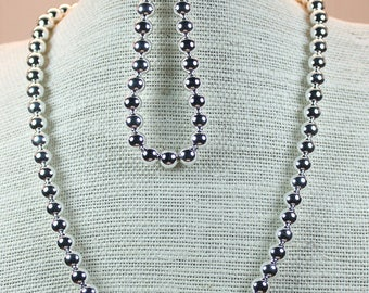 Silver 8MM ball necklace and bracelet to match