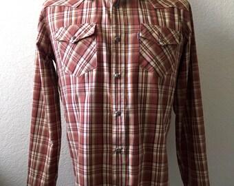 Vintage Men's 90's Levi's, Plaid Shirt, Brown, Snap Button, Long Sleeve (M)