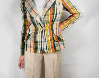 Plaid blazer jacket vintage from 1970s in beige, green, orange & mustard size 11/12 with bonus beige pants // plaid suit // zoot suit