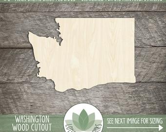 Washington, Unfinished Wood Washington Laser Cut Shape, DIY Craft Supply, Many Size Options, Blank Wood Shapes