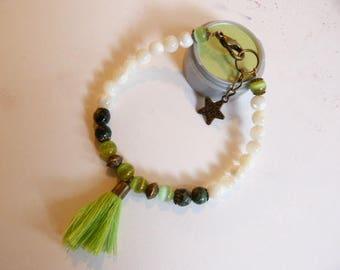 Mother of pearl beads, green agate boho tassel bracelet.