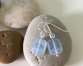 Sterling Silver Sea Glass Earrings- Light Blue Dangle