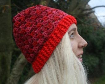 Granny Stripes Beanie Hat // Red // Handmade Crochet