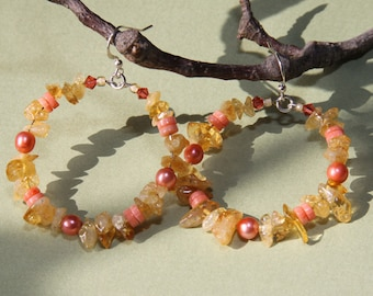 Citrine Stone chips, coral  hoop earrings            SPRING / SUMMER