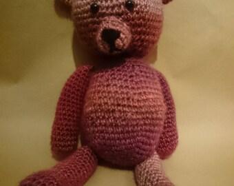 Crochet Teddy bear - Pink/Multi - Amigurumi/Handmade