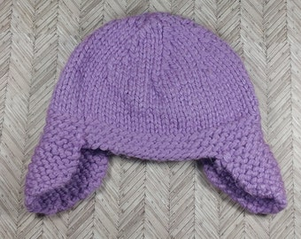 3-6 month old purple aviator winter hat;  bulky 3-6 month old hat
