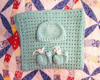 Mint Green Crochet Baby Blanket with Hat and Booties, Baby Afghan, Nursery