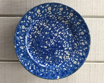 1 Vintage Stangl Blue Spongeware Town and Country Dinner Plate Hand Painted Blue and White Dinnerware Dinner plates spatterware Replacements